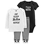 "carter's® Newborn 3-Piece ""Bestie"" Long Sleeve Shirt, Bodysuit and Pant Set"