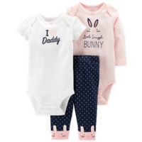 """carter's® Size 3M 3-Piece """"I ♥ Daddy"""" Bodysuit and Pant Set in Pink"""