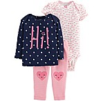 "carter's® Size 3M 3-Piece ""Hi!"" Shirt, Bodysuit and Pant Set in Navy/Pink"