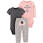 "carter's® Newborn 3-Piece ""The Snuggle Is Real"" Bodysuit and Pant Set in Pink/Grey"