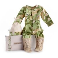 "Baby Aspen Size 0-6M ""Big Dreamzzz"" Baby Camo 2-Piece Footed Coverall and Hat Set"