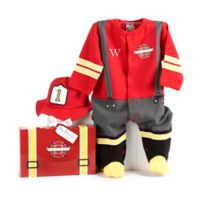 """Baby Aspen Size 0-6M """"Big Dreamzzz"""" Baby Firefighter 2-Piece Footed Coverall and Cap Set"""