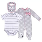 asher and olivia® Size 0-3M Industrial Dream 3-Piece Layette Set in Grey