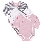 asher and olivia® Size 3-6M 3-Piece Arctic Chic Kimono Bodysuit Set in Pink