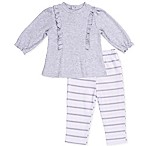 asher and olivia® Size 3-6M 2-Piece Industrial Dream Ruffled Top and Striped Pant Set