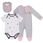 asher and olivia® Size 3-6M 3-Piece Arctic Chic Striped Layette Set in Grey
