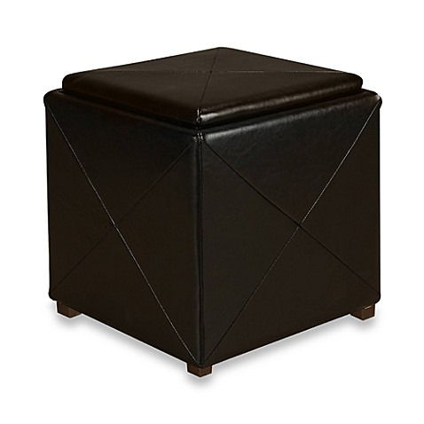 Mariolla Faux Leather Storage Cube in Chocolate Brown