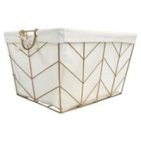 Honey-Can-Do® Chevrons Medium Wire Bin with Cotton Liner in Gold