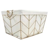 Honey-Can-Do® Chevrons Large Wire Bin with Cotton Liner in Gold