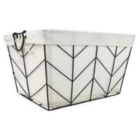 Honey-Can-Do® Chevrons Large Wire Bin with Cotton Liner in Silver