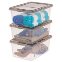 IRIS® 17 Qt. Clear Storage Boxes with Lids in Grey (Set of 12)