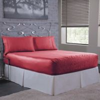 Bed Tite 300-Thread-Count Luxury Satin King Sheet Set in Burgundy