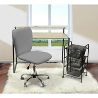 Urban Shop Faux Leather Upholstered Chair in Grey