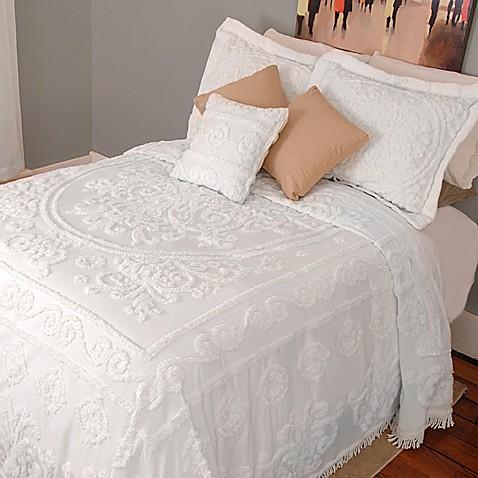 louisa chenille bedspread   white   bed bath amp beyond