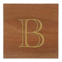"Thirstystone® Acacia Monogram ""B"" Single Coaster in Gold"