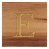 "Thirstystone® Acacia Monogram ""E"" Single Coaster in Gold"