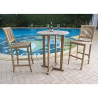 Hiteak Furniture Palm 3-Piece Outdoor Bar Set
