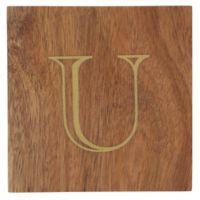 "Thirstystone® Acacia Monogram ""U"" Single Coaster in Gold"