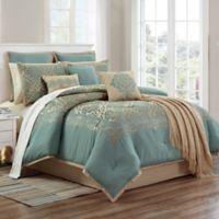 Declan 14-Piece King Comforter Set in Teal