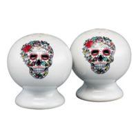 Fiesta® Halloween Sugar Skull Salt and Pepper Shakers in White