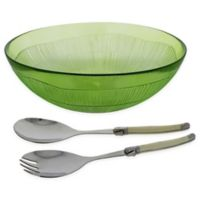 French Home 3-Piece Laguiole Salad Bowl Set in Green