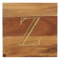 "Thirstystone® Acacia Monogram ""Z"" Single Coaster in Gold"