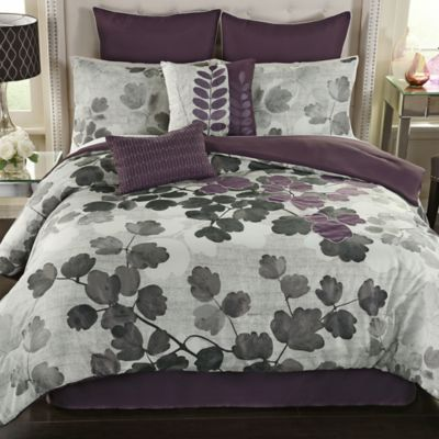 Dasha 8 Piece California King Comforter Set In Plum