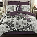 Dasha 8-Piece California King Comforter Set in Plum