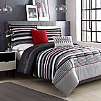 Ronan Striped Reversible 4-Piece Twin Comforter Set in Grey