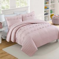 VCNY Home Penelope Geometric Pintuck Reversible Twin Quilt Set in Pink