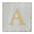 "Thirstystone® Marble Monogram ""A"" Single Coaster in Gold/White"