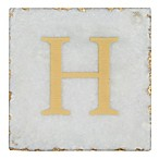 Thirstystone® Marble Monogram  H  Single Coaster in Gold/White