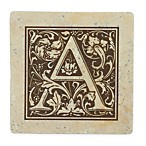 "Thirstrystone® Travertine Monogram ""A"" Coaster (Set of 4)"