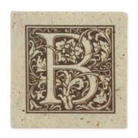 "Thirstrystone® Travertine Monogram ""B"" Coaster (Set of 4)"