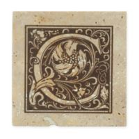 "Thirstrystone® Travertine Monogram ""C"" Coaster (Set of 4)"