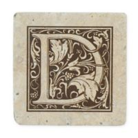 "Thirstrystone® Travertine Monogram ""D"" Coaster (Set of 4)"
