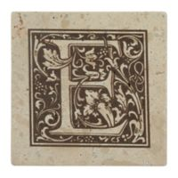 "Thirstrystone® Travertine Monogram ""E"" Coaster (Set of 4)"