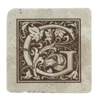 "Thirstrystone® Travertine Monogram ""G"" Coaster (Set of 4)"