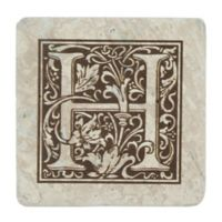 "Thirstrystone® Travertine Monogram ""H"" Coaster (Set of 4)"