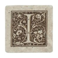 "Thirstrystone® Travertine Monogram ""I"" Coaster (Set of 4)"