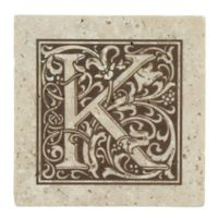 "Thirstrystone® Travertine Monogram ""K"" Coaster (Set of 4)"