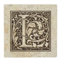 "Thirstrystone® Travertine Monogram ""L"" Coaster (Set of 4)"