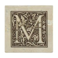 "Thirstrystone® Travertine Monogram ""M"" Coaster (Set of 4)"