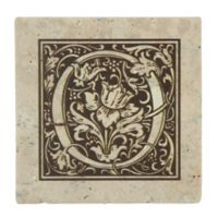 "Thirstrystone® Travertine Monogram ""O"" Coaster (Set of 4)"