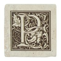"Thirstrystone® Travertine Monogram ""P"" Coaster (Set of 4)"