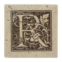 "Thirstrystone® Travertine Monogram ""R"" Coaster (Set of 4)"