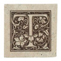 "Thirstrystone® Travertine Monogram ""T"" Coaster (Set of 4)"