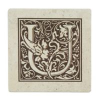 "Thirstrystone® Travertine Monogram ""U"" Coaster (Set of 4)"
