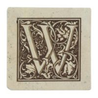 "Thirstrystone® Travertine Monogram ""W"" Coaster (Set of 4)"