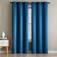 Sarah Jacquard 84-Inch Grommet Window Curtain Panel Pair in Blue